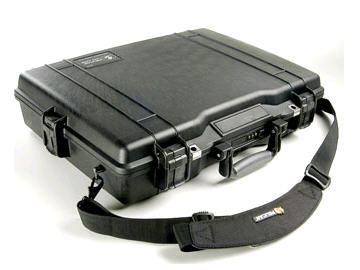 "Pelican 17"" Notebook Case - Stainless Steel - Black W/FOAM FITS UP TO 17IN LAPTOP"