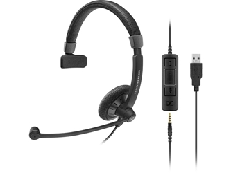 Sennheiser SC 45 USB MS Headset - Stereo - Black - Mini-phone - Wired - 60 Hz - 16 kHz - Over-the-head - Binaural - Supra-aural - 3.67 ft Cable USB & 3.5MM