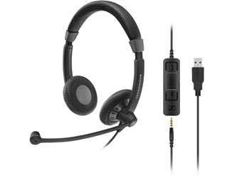 Sennheiser Culture Plus SC 75 USB MS Headset - Stereo - Black - USB, Mini-phone - Wired - 60 Hz - 16 kHz - Over-the-head - Binaural - Supra-aural - 3.67 ft Cable USB & 3.5MM MS CERTIFIED