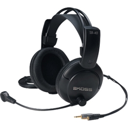 Koss SB40 Headset - Stereo - Mini-phone (3.5mm) - Wired - 120 Ohm - 20 Hz - 20 kHz - Over-the-head - Binaural - Ear-cup - 9 ft Cable - Condenser, Electret Microphone - Black HEADBAND W/ MICROPHONE